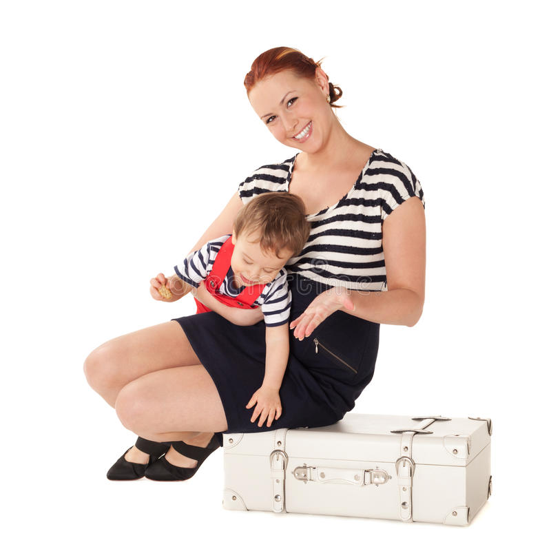 Ready for vacations. Mother and son are ready for vacations royalty free stock image