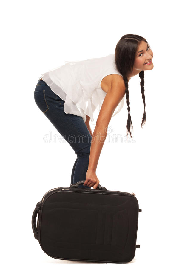 Ready for vacations. Smiling girl is ready to go for vacations royalty free stock image