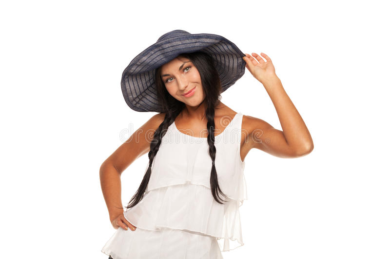 Ready for vacations. Smiling girl in summer hat is ready for vacation stock image