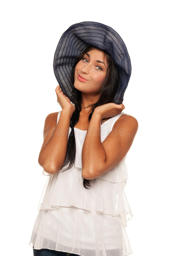 Ready for vacations. Smiling girl in summer hat is ready for vacation stock photography