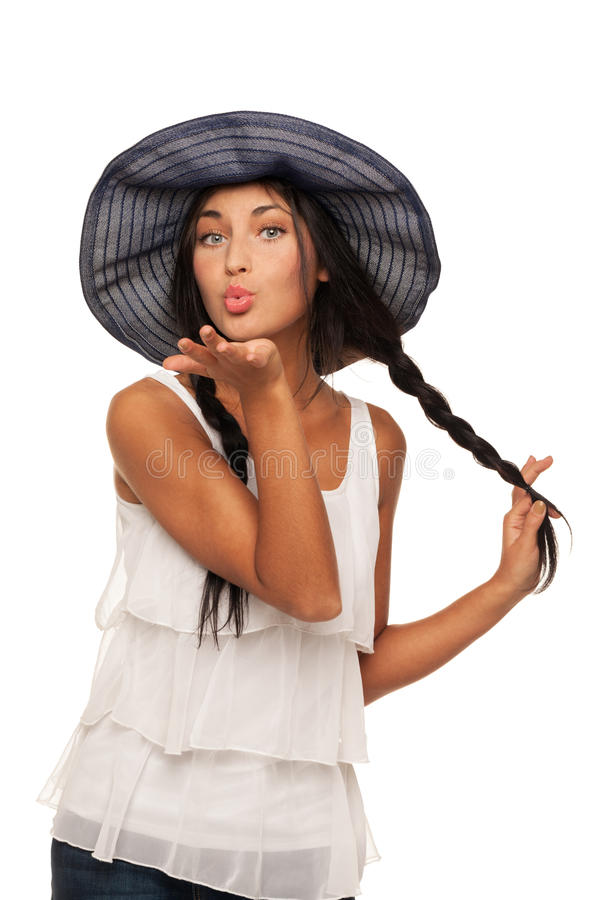 Ready for vacations. Girl in summer hat is ready for vacation stock photo