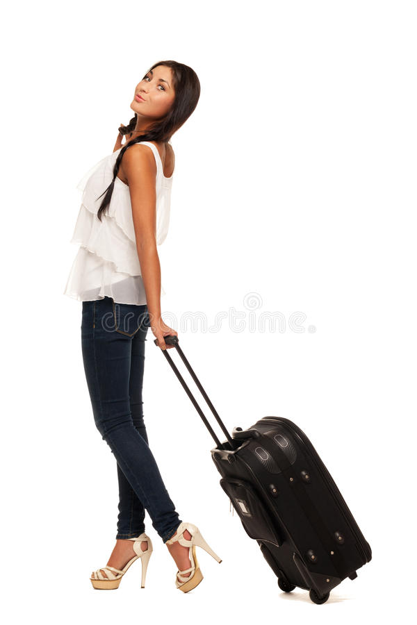 Ready for vacations. Smiling girl in summer hat is ready for vacation royalty free stock photos