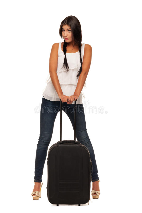 Ready for vacations. Young girl is ready for vacations stock photos