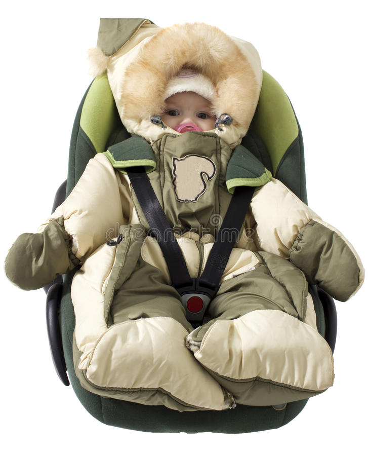 It is ready in a way. The child lies in a cradle for the car stock photo