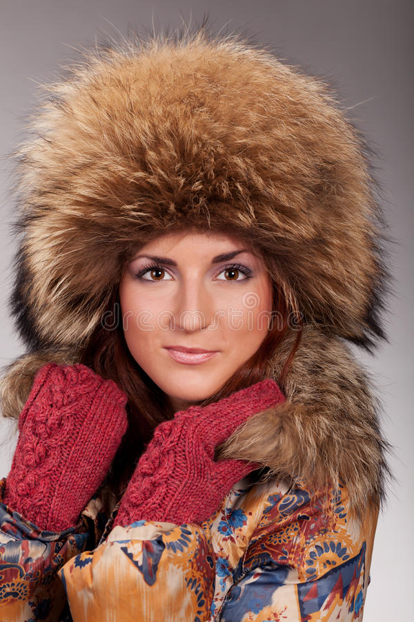 Ready for the winter. Young lady is preparing for the winter royalty free stock images