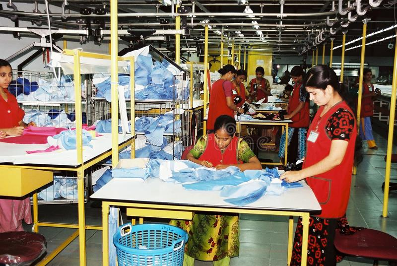 Garments industry in Bangladesh. The readymade garments industry acts as a catalyst for the development of Bangladesh. The `Made in Bangladesh` tag has also royalty free stock photo