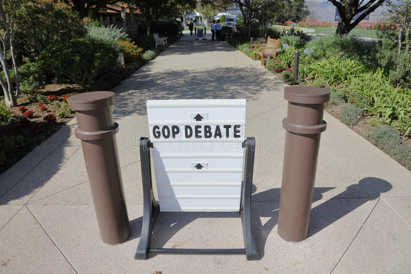 REAGAN PRESIDENTIAL LIBRARY, SIMI VALLEY, LA, CA - SEPTEMBER 16, 2015, sign directs to GOP Republican Presidential Debate royalty free stock photo