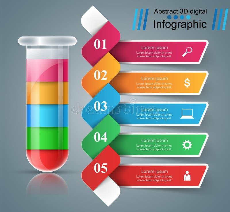 Reageerbuis experimenten Zaken Infographics royalty-vrije illustratie