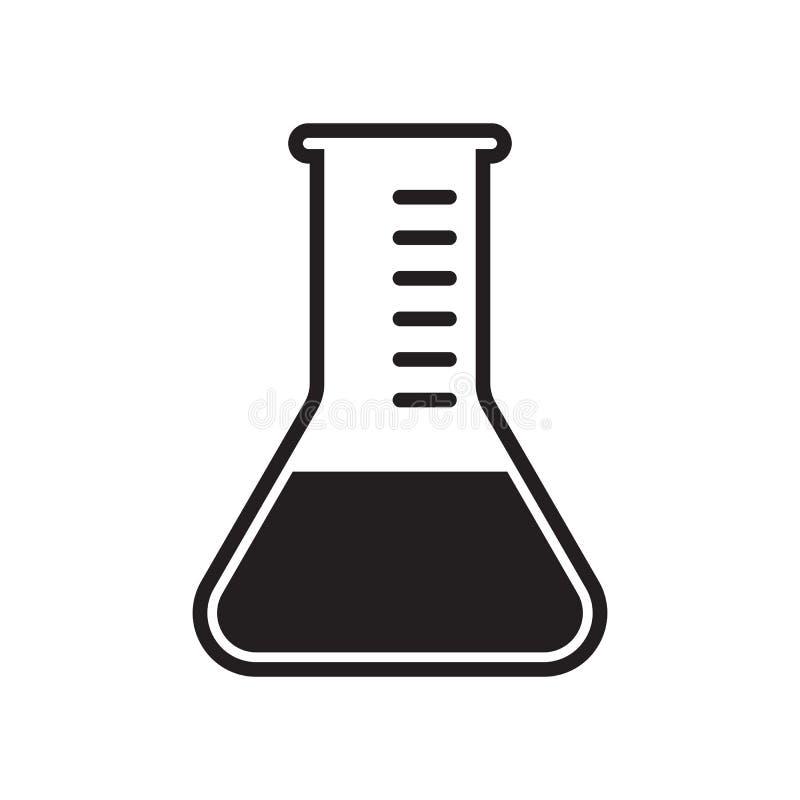 Reageerbuis vectorpictogram De vector testte klinisch medisch het flesjeetiket van de erkend laboratoriumbeker stock illustratie