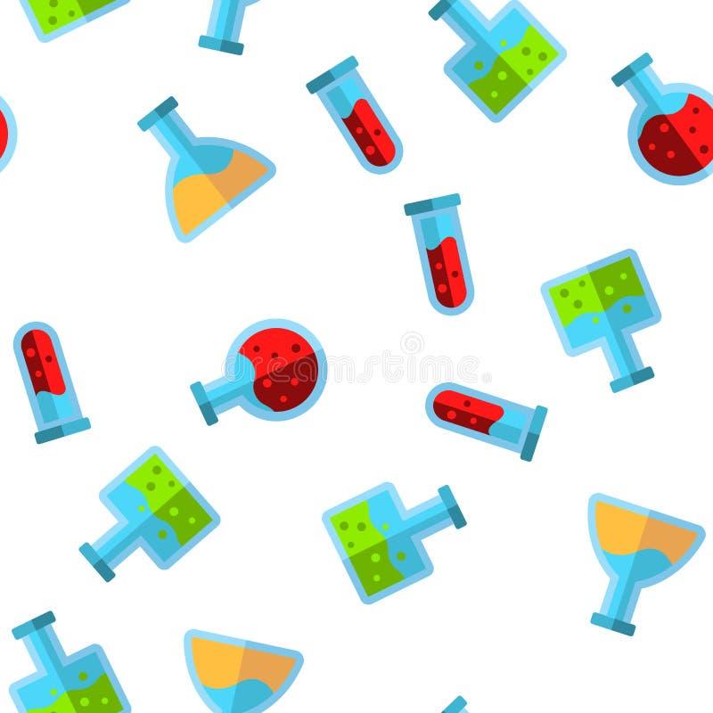 Reageerbuizen en Flessen Vector Naadloos Patroon stock illustratie