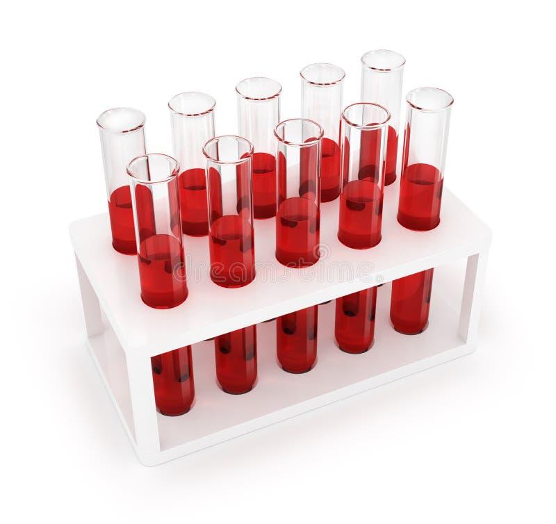 Reageerbuizen met rode vloeistof in houder royalty-vrije stock foto