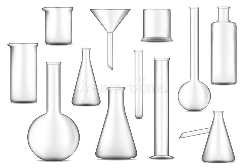 Reagenzgläser, Flaschen und Becher Checimal-Laborglas stock abbildung