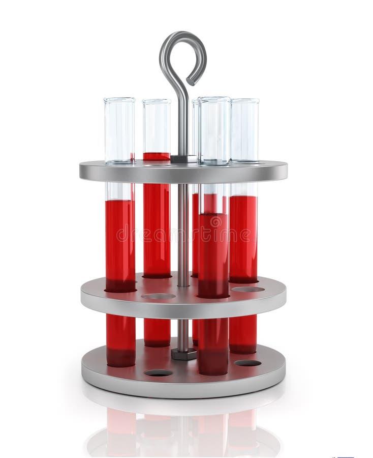 Reagenzgläser mit Blut auf einem Stand lizenzfreie abbildung