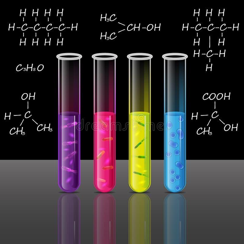 Reagenzgläser stellten mit Flüssigkeit und Bakterien Zelle und Pförtner ein Vektor lizenzfreie abbildung