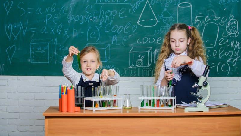 Reagenzgl?ser mit bunten Substanzen Schulausr?stung f?r Labor M?dchen auf Schulchemielektion Kinder beschäftigt mit lizenzfreie stockfotos