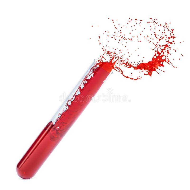 Reagenzglas mit Blut und Spritzen Wiedergabe 3d stock abbildung