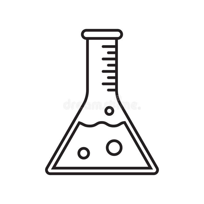 Reagenzglas-Vektorikone Vektor prüfte klinisch Produkt, Laborbecher-Phiolenrohr stock abbildung