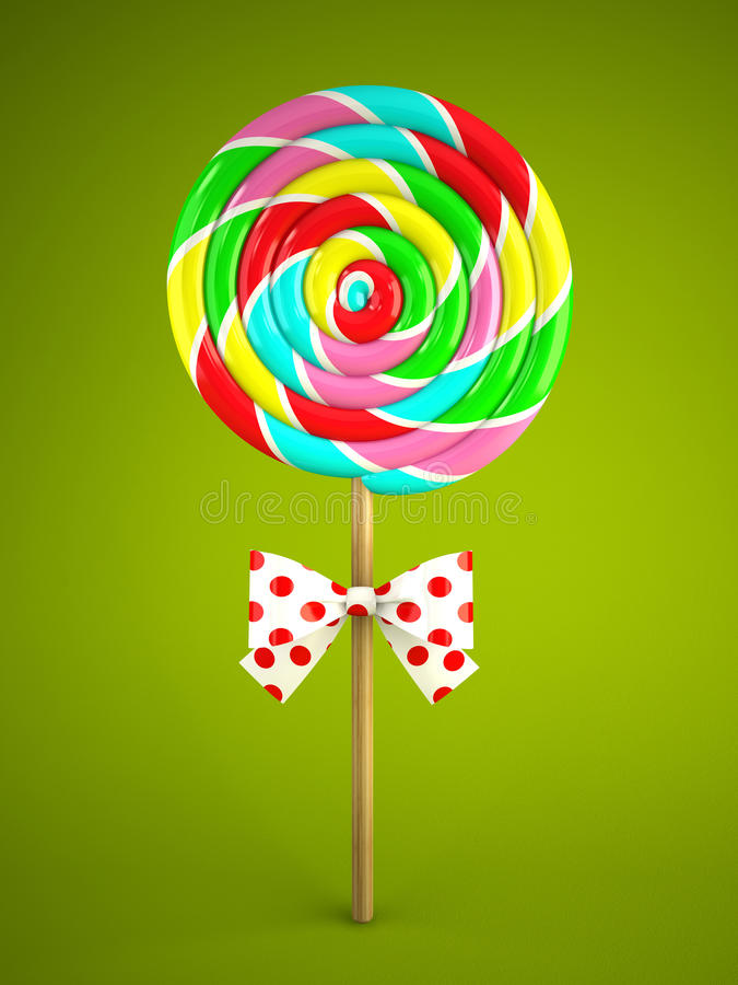 Reainbow lollipop with bow on green background vector illustration