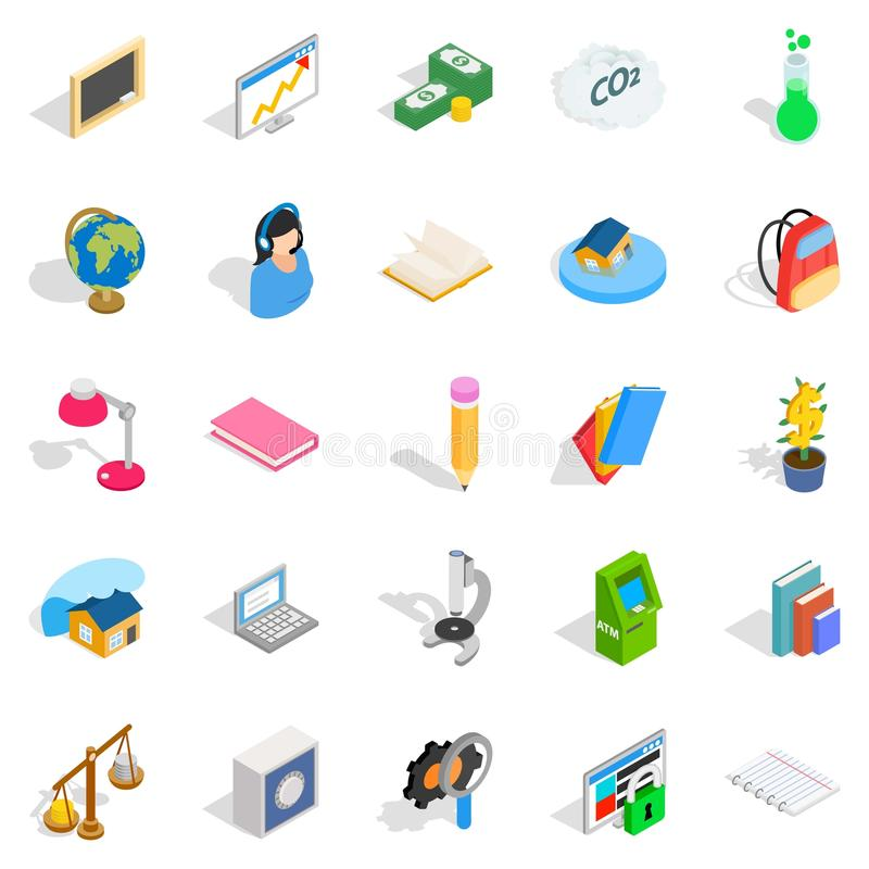 Reakcj ikony ustawiać, isometric styl ilustracja wektor