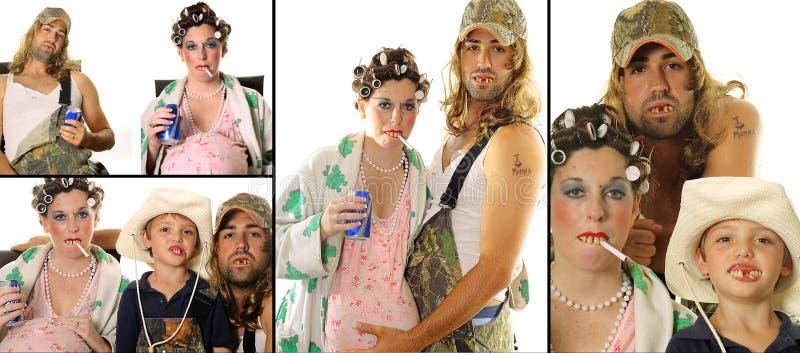 Reaktionäre Hinterwäldler-Hinterwäldlerfamilien-Portraitcollage lizenzfreie stockbilder