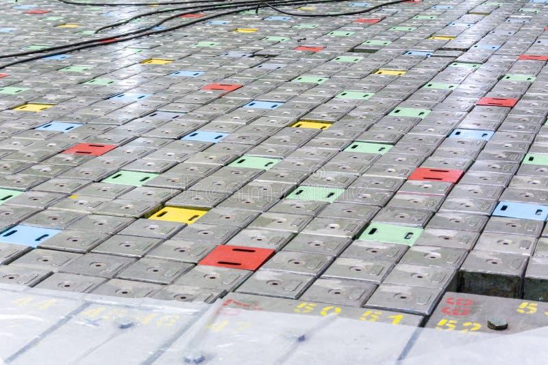 Reaktorraum Kernreaktordeckel, -Ausrüstungspflege und -ersatz der Reaktorbrennelemente stockbild