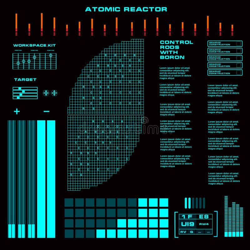 Reaktoru nuklearnego dotyka Futurystyczny wirtualny graficzny interfejs użytkownika ilustracji