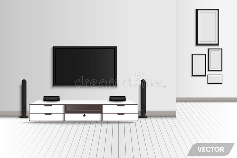 Realístico da sala de visitas interior moderna e da mobília decorativa , Televisão e cerco do estéreo da decoração do cinema em c ilustração do vetor
