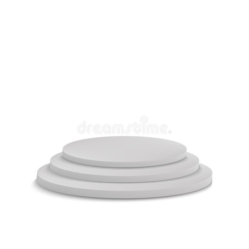 Realístico vazio redondo do molde da placa do pódio da fase isolado no fundo branco Ilustração do vetor ilustração stock