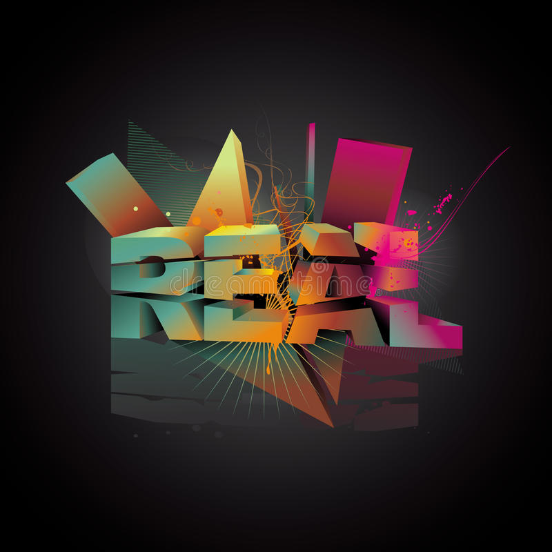Real 3d abstract text vector illustration