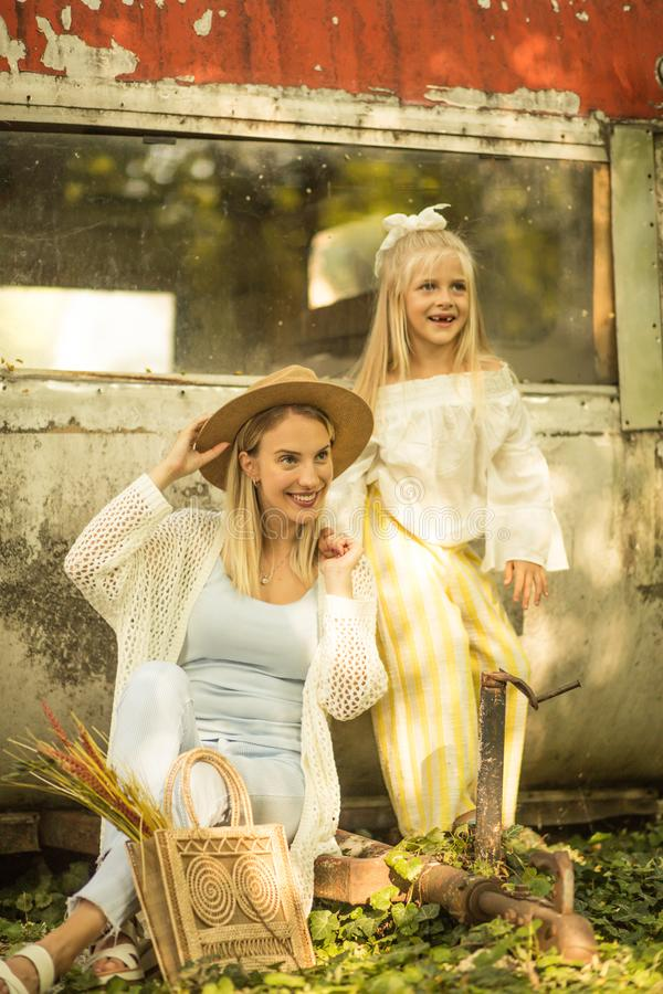 Real adventurers. Mother and daughter outdoor royalty free stock image