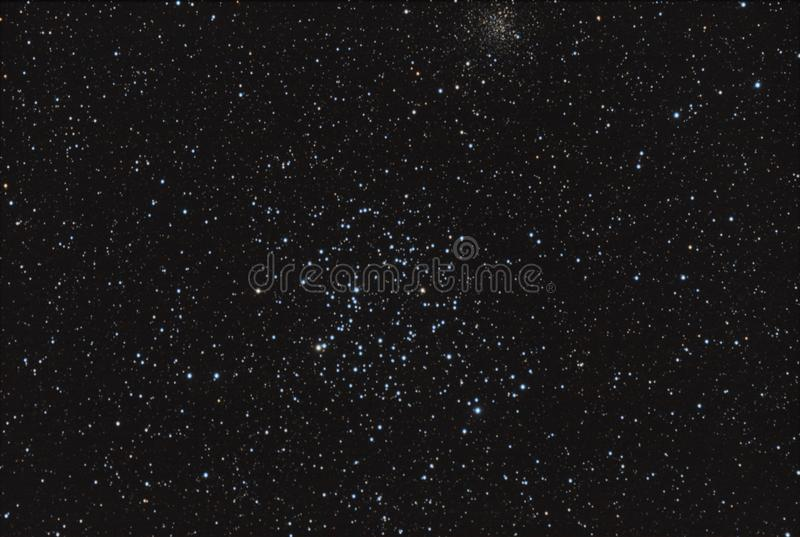 Open star cluster. Real astronomic picture taken using telescope, it is an open star cluster known as Messier 35, in Gemini constellation stock photos