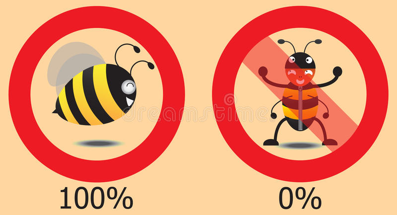 Real Bee And False Bee In Circle. Vector Illustration. Real bee and false bee in circle,vector illustration stock illustration