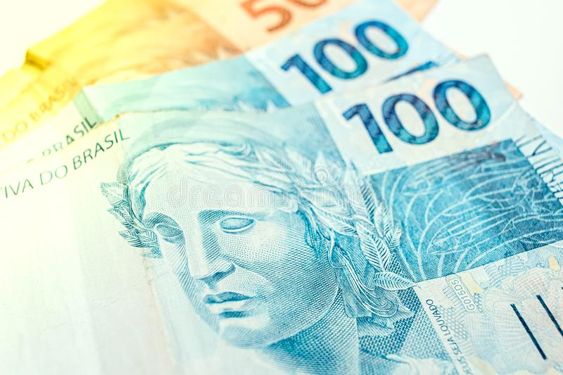 Real brazilian currency - 100 and 50 reais banknotes royalty free stock photos