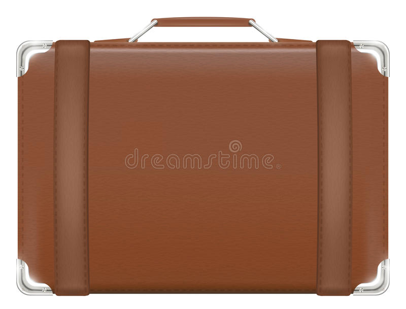 Real brown old vintage leather suitcase travel bag stock illustration