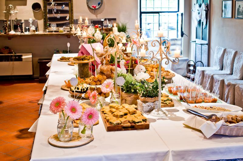 Real buffet tables ready for an aperitif or appetizer royalty free stock photos