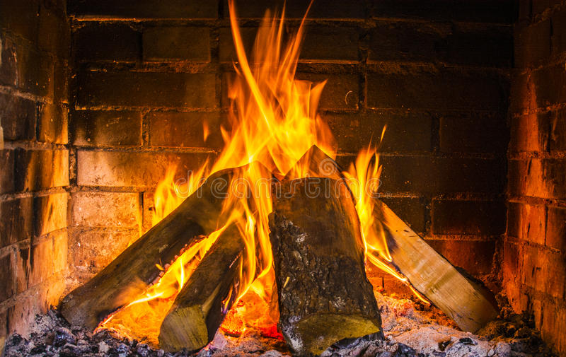 Real burning wood royalty free stock images