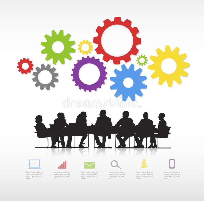 Real Business People Meeting Vector. Real Business people with infographic elements stock illustration
