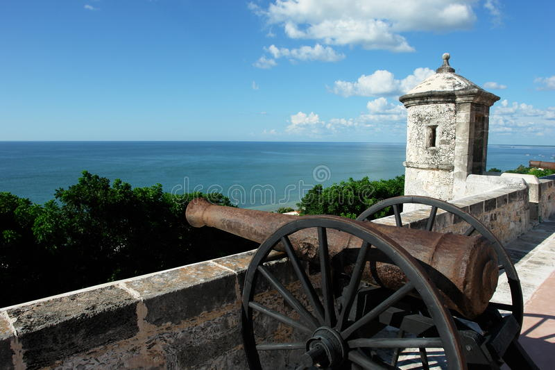 Real Cannon from the city of Pirates: Campeche,Yucatan Peninsula, Mexico. Real Cannon from the city of Pirates: Campeche,Yucatan Peninsula, Mexico, with a view stock images