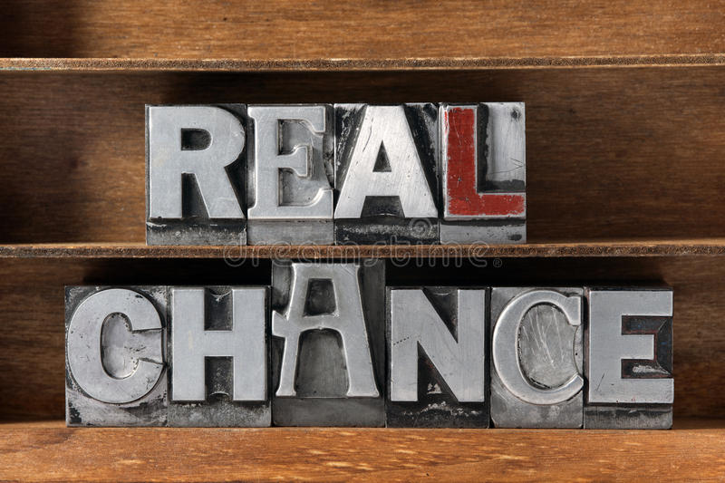 Real chance tray stock image