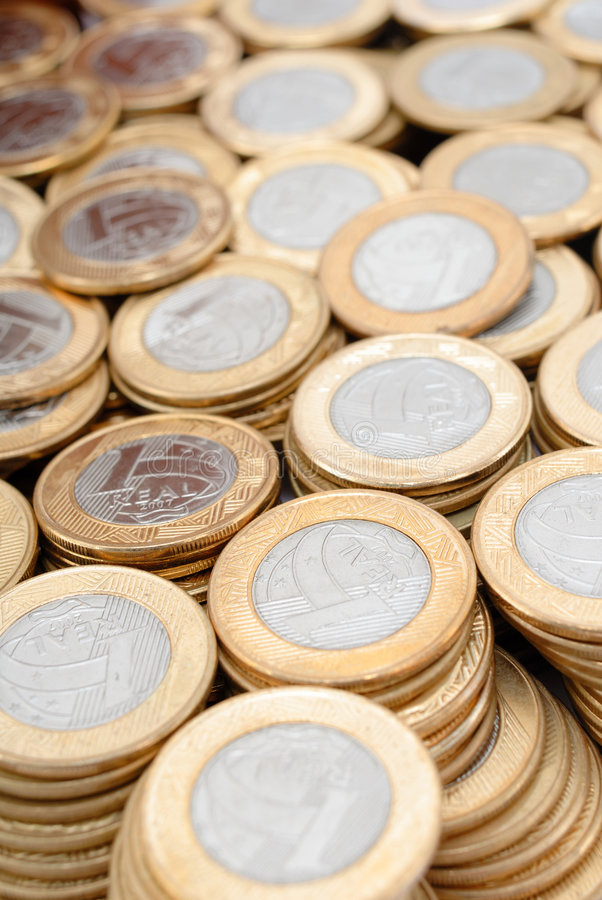 Real Coins. Brazilian Currency - One Real Coins stock photo