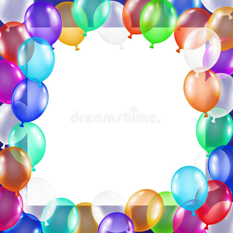 Real colorful balloons with center copy space vector illustration