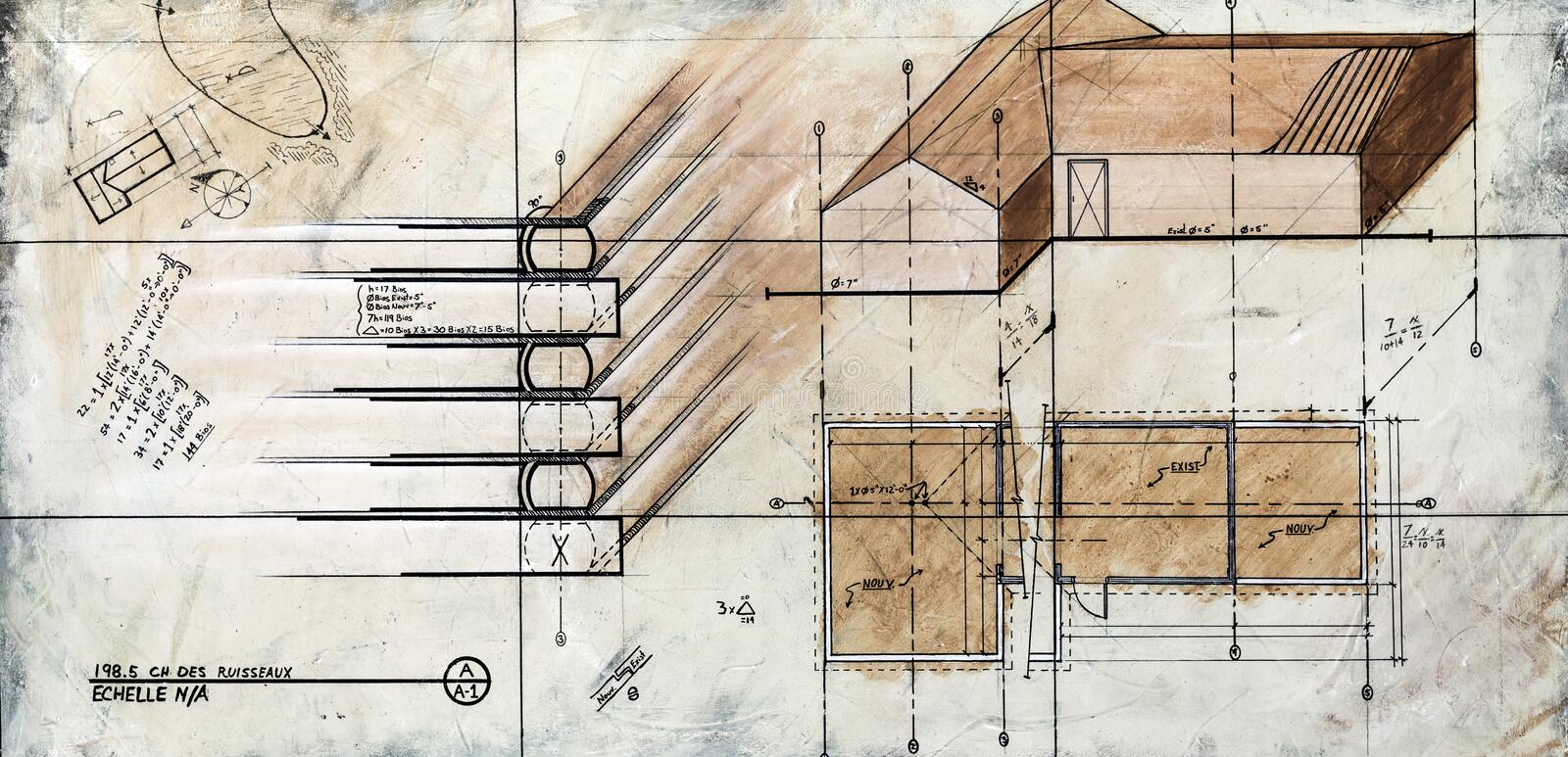 Real Contemporary Painting on Canvas. Of a Generic House Sketch royalty free stock photos