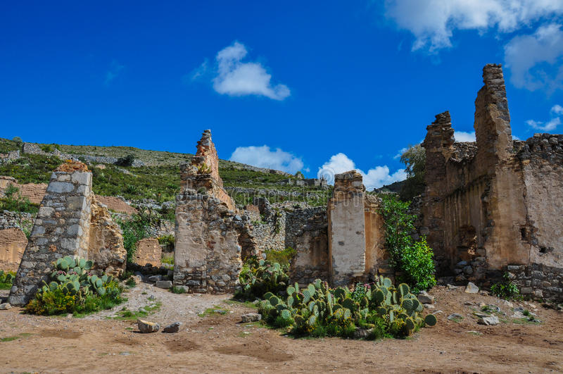 Real de Catorce,圣路易斯波托西州,墨西哥废墟  库存照片