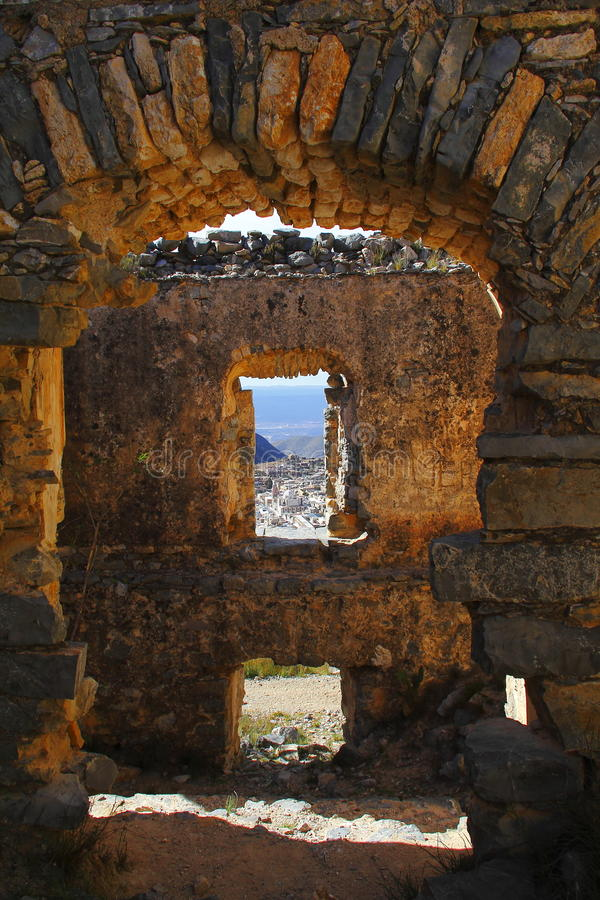 Real de catorce X. Ancient town of Real de Catorce located in the mexican state of San Luis Potosi stock images
