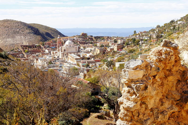 Real de catorce VI. Aerial view of the ancient town of Real de Catorce located in the mexican state of San Luis Potosi royalty free stock photos