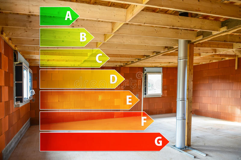 Real ecological house in construction with energy efficiency rating. Ecological house in construction with energy efficiency rating royalty free stock photo