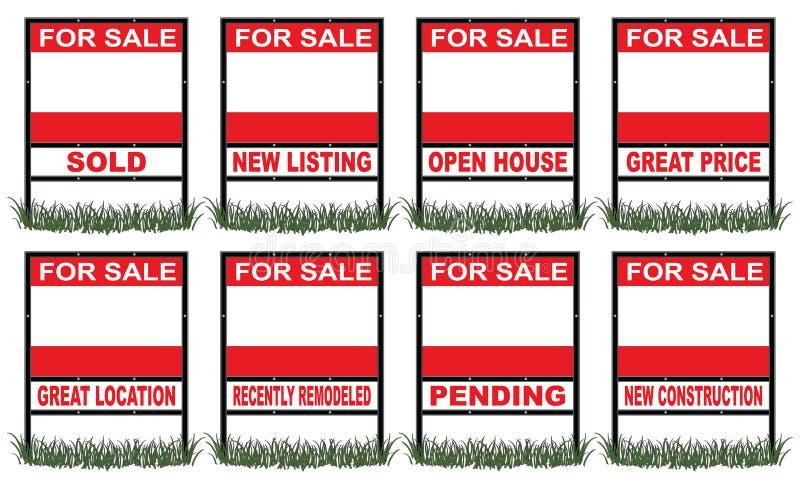 Real Estate à vendre signent sous peu illustration de vecteur