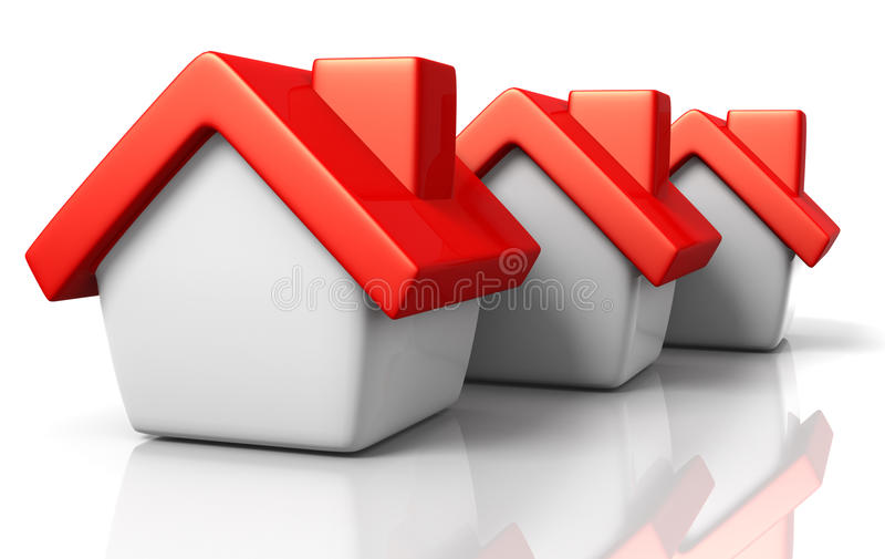 Real Estate. 3D rendered illustration of three houses in a row, with red roof tops royalty free illustration