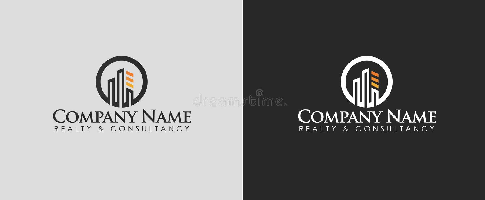Real estate or Consultancy logo design vector with two different backgrounds. stock photo