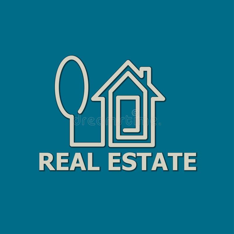 Real Estate abriga o logotipo ilustração do vetor